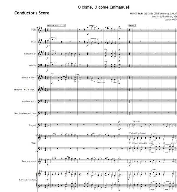Score of the Week - O come o come emmanuel - All Souls Music