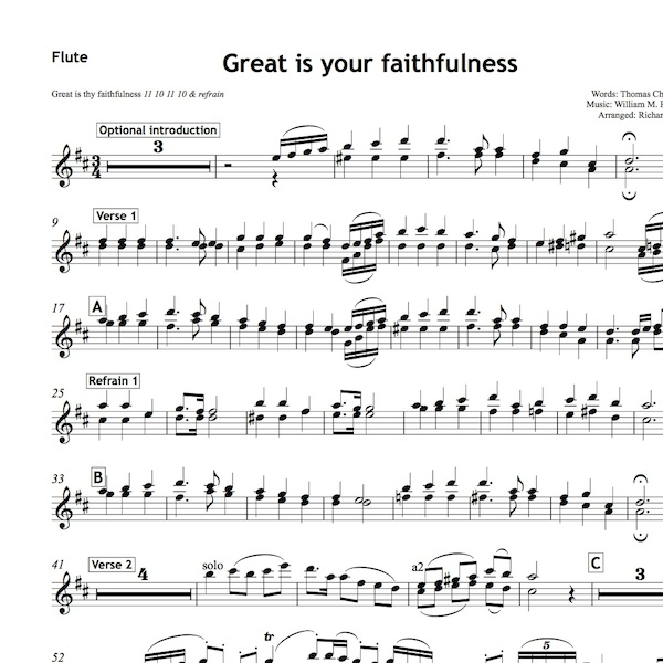 Score of the Week - Great Is Your Faithfulness - All Souls Music